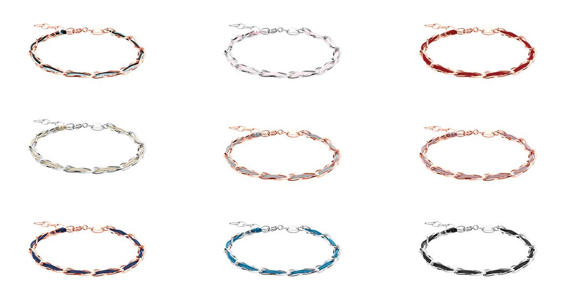Auch bei der neuen Linie Unico handelt es sich um zarte Armbänder – mit eingearbeitetem Textilband.