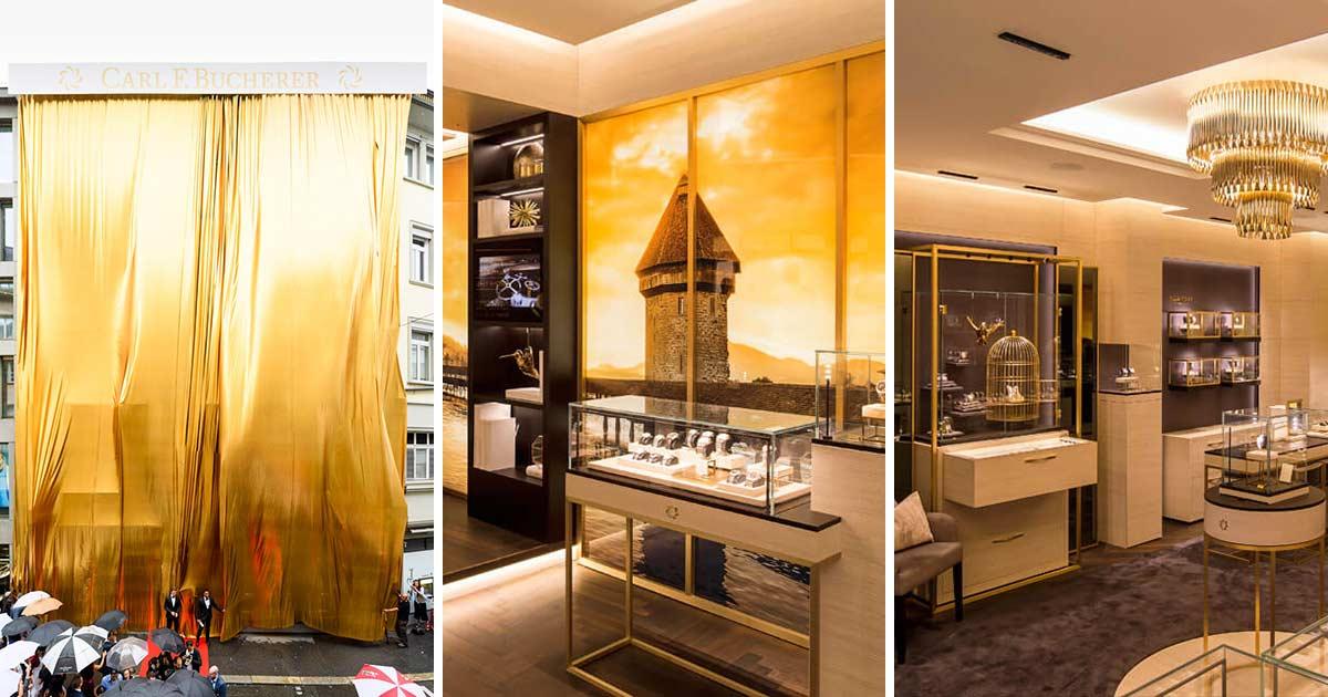 Der goldene Vorhang (l.), mit dem die Boutique verhüllt war, ließ Platz für Spekulationen rund um die neue Boutique. Als sie enthüllt wurde zeigte sich, dass sich die Goldfarbe auch im Inneren widerspiegelt...