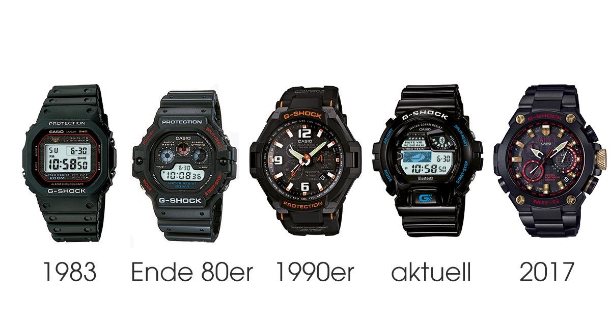 Die Evolution der G-Shock. Von 1983 bis heute hat sich die Grundkompetenz – toughe Uhren – nicht geändert.