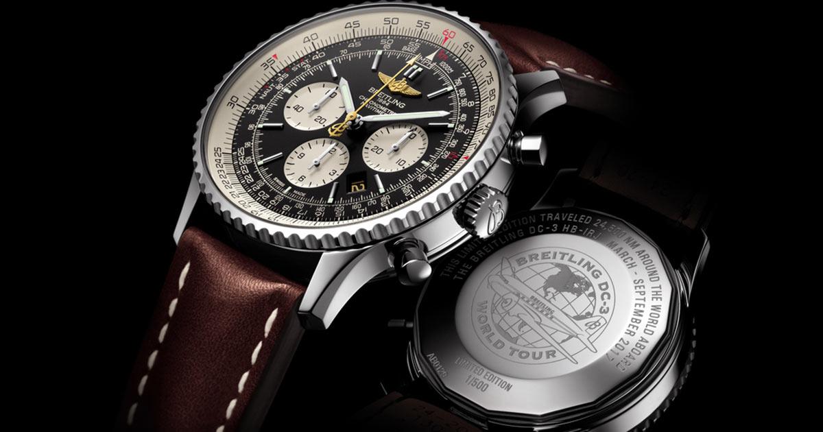 Die auf 500 Exemplare limitierte Sonderausgabe des Aviatik-Chronographen Navitimer mit dem Manufakturkaliber Breitling 01war bei der Breitling World Tour mit an Bord der Breitling DC-3. Zu jeder Uhr gibt es ein vom Flugkapitän signiertes Zertifikat.