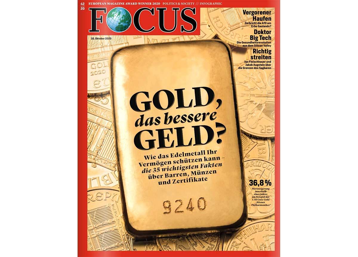 Gold im Focus: Das Nachrichtenmagazin titelt mit dem Edelmetall.