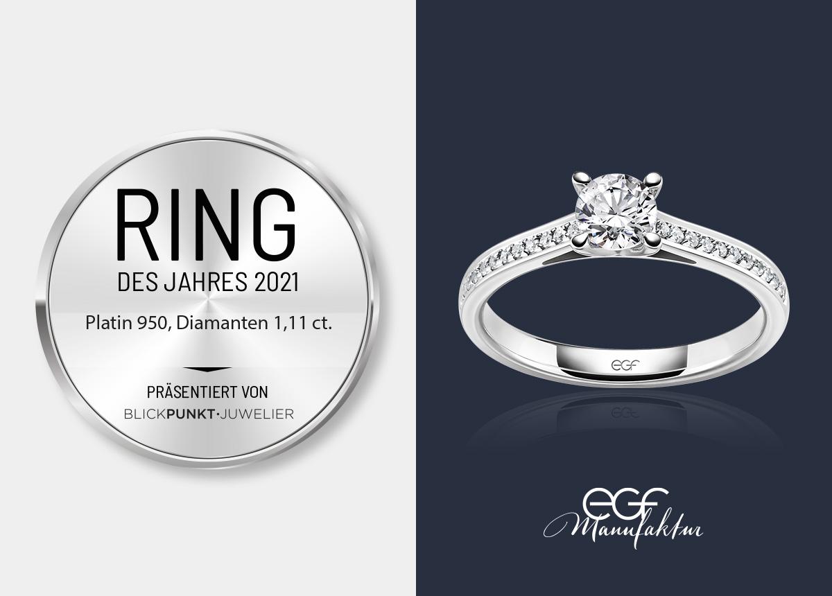 Der Ring des Jahres 2021 von EGF ist das DiamondsFor-You-Modell.