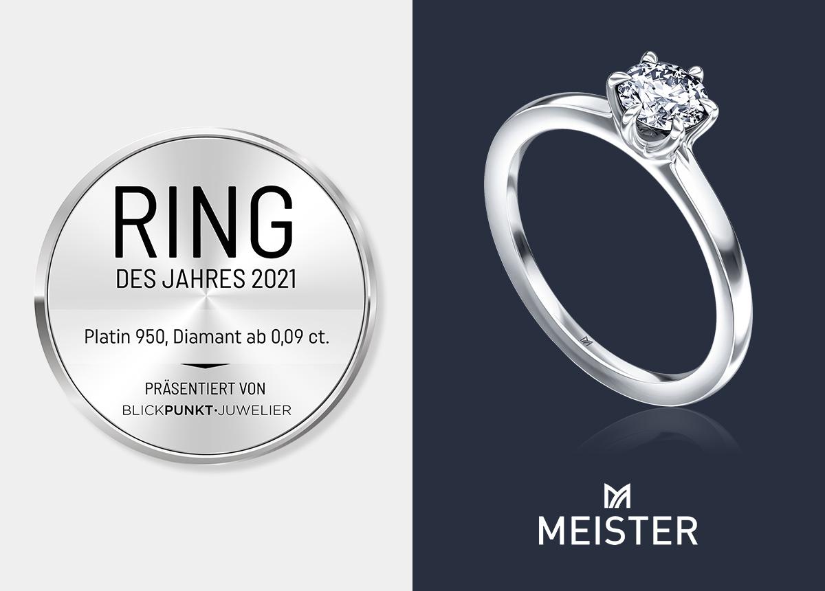 """Der Platin-Verlobungsring 2021 von Meister ist ein Klassiker, quasi der """"König der Solitäre""""."""