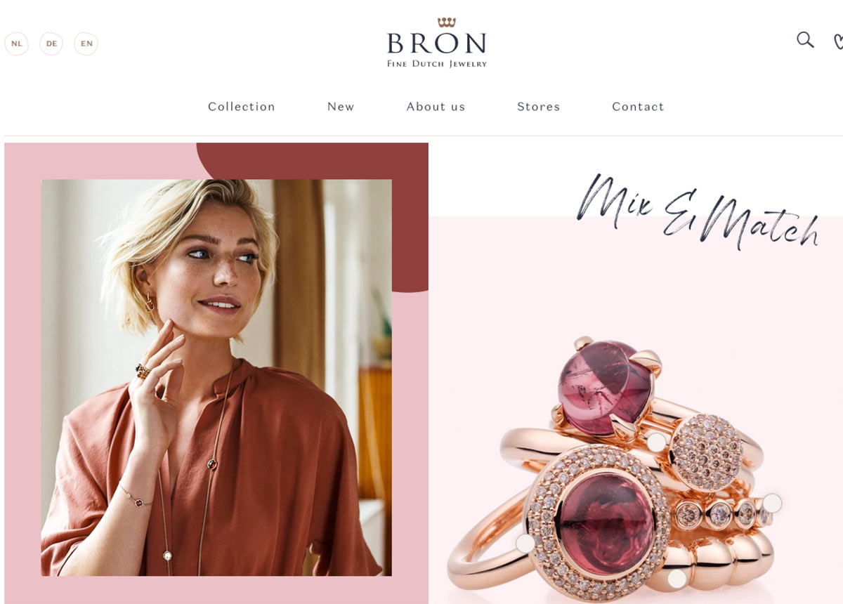 Die Seite Bronjewelry.com ist auf Deutsch, Englisch und Niederländisch verfügbar.