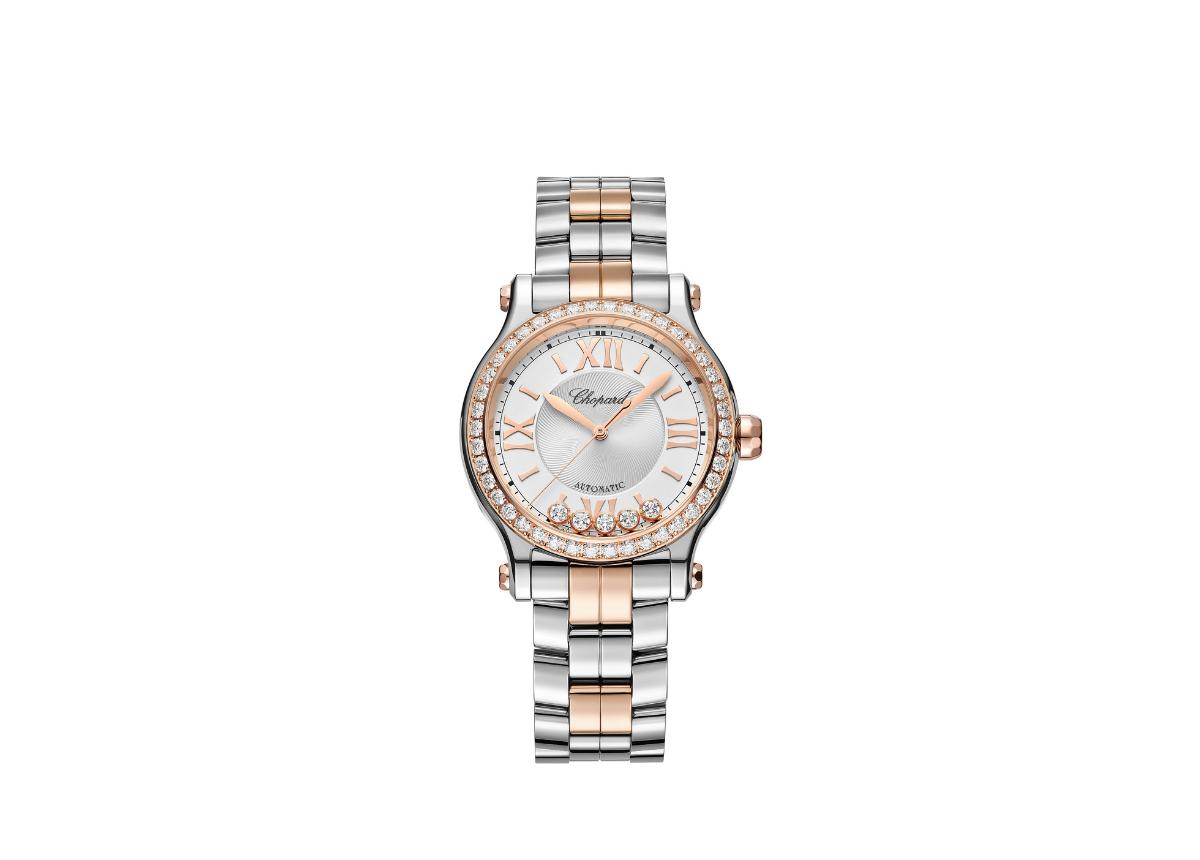 1993 erdenkt Caroline Scheufele, vom Zeitgeist beflügelt, eine sportliche Uhr, die erstmals Stahl mit Diamanten kombiniert.