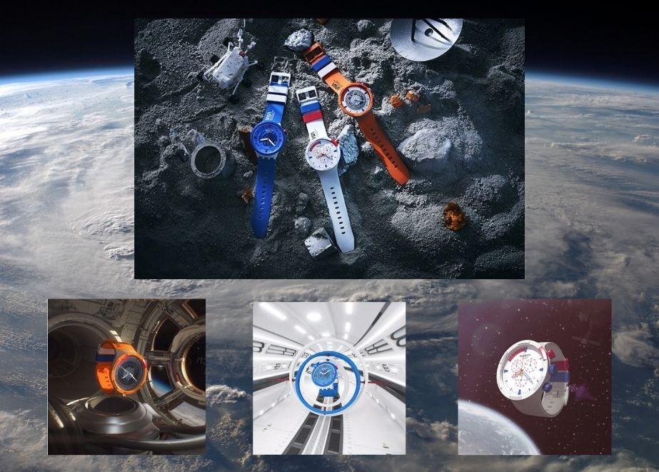 Drei der fünf neuen Uhren haben Komponenten aus biobasiertem Material und sind direkt den Raumanzügen nachempfunden, welche die NASA-Astronauten tragen.