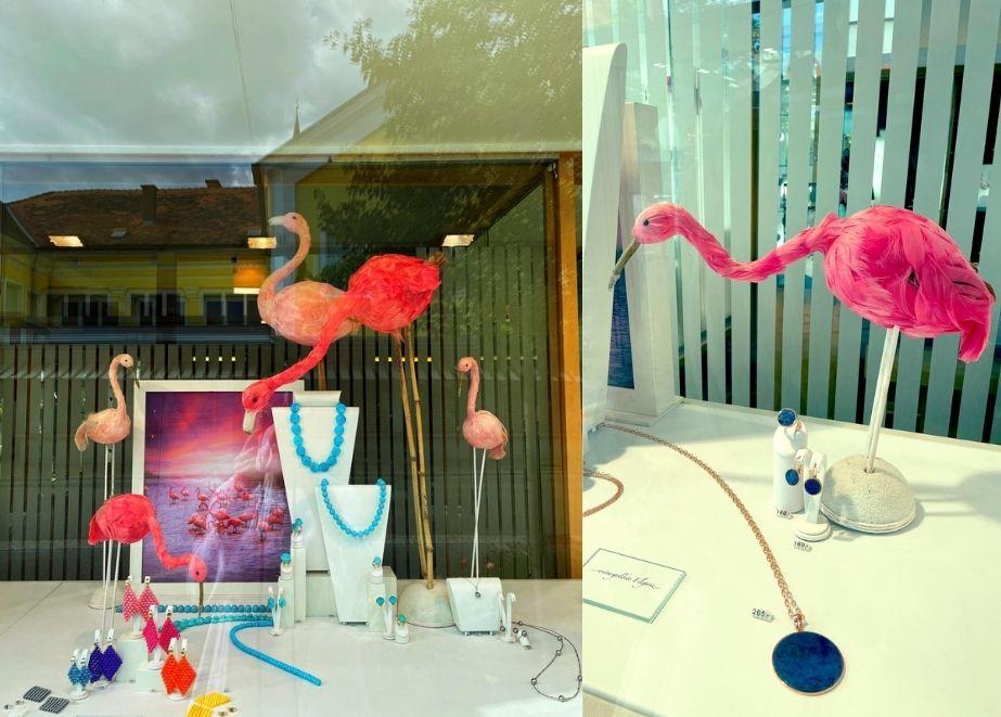 Mit Flamingos im Schaufenster Aufmerksamkeit schaffen und Sommer-Emotionen wecken: Juwelier Gressl aus Graz liefert Ideen.